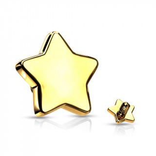 Embout étoile de piercing Doré en acier (pour tige filetage interne)