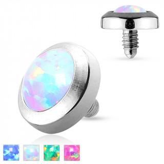 Embout implant microdermal plat avec pierre Opale