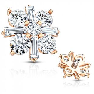 Embout microdermal à croix royale cuivrée sertie de zirconiums