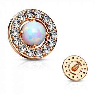 Embout microdermal disque plaqué or rose à strass et opale blanche