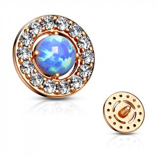 Embout microdermal disque plaqué or rose à strass et opale bleue