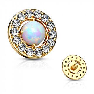Embout microdermal disque plaqué or à strass et opale blanche