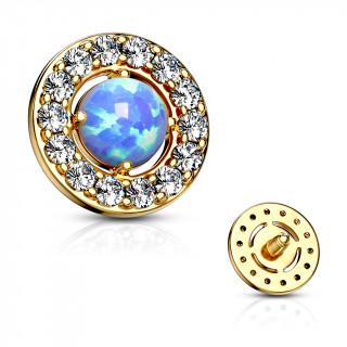 Embout microdermal disque plaqué or à strass et opale bleue