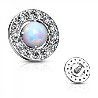 Embout microdermal disque à strass et opale blanche