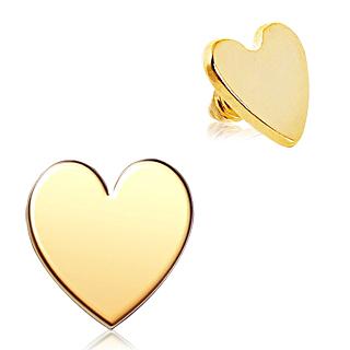 Embout microdermal doré en acier en forme de coeur
