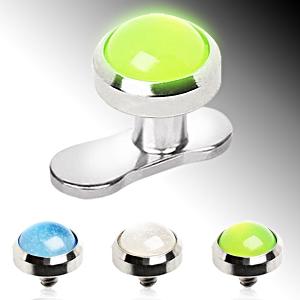 Embout microdermal en acier à dôme phosphorescent