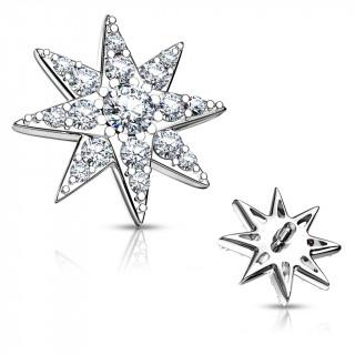 Embout microdermal étoile astrale pavée de strass - Gris