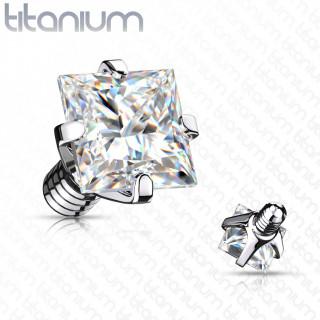 Embout piercing Titane G23 serti Zirconium carré (pour tige filetage interne)