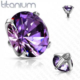 Embout piercing Titane G23 serti Zirconium Violet Tanzanite (pour tige filetage interne)