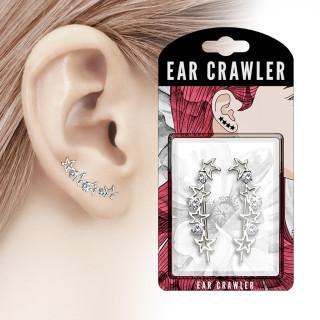 Epingles d'oreilles à arc d'étoiles et strass clairs (Paire)