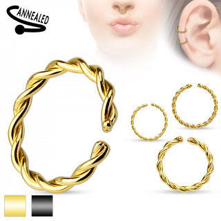 achat faux piercing anneau oreille ou nez sans per age style tress plaqu ip. Black Bedroom Furniture Sets. Home Design Ideas