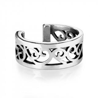 Faux piercing cartilage anneau à coeurs vintage - Argenté antique