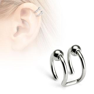 Faux piercing cartilage argenté à deux anneaux perlés ouverts
