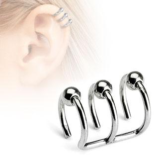 Faux piercing cartilage argenté à trois anneaux perlés ouverts