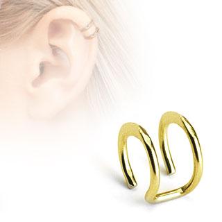 Faux piercing cartilage doré à deux anneaux ouverts