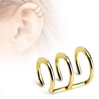 Faux piercing cartilage doré à trois anneaux ouverts