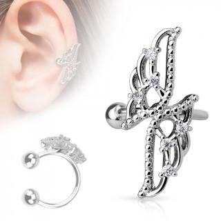 Faux piercing cartilage oreille avec papillon abstrait