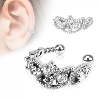 Faux piercing oreille circulaire serti style diadème