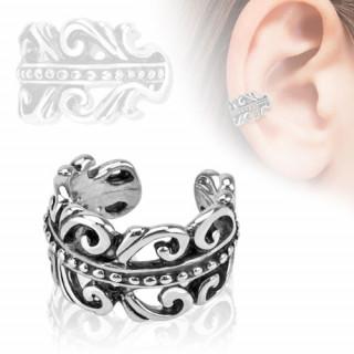 Faux piercing oreille en forme de couronne avec spirales