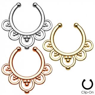 Faux piercing septum à anneaux perlés