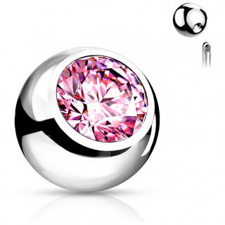 Boule de piercing en acier sertie - Rose