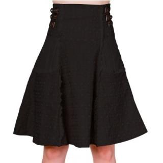 Jupe noire corsetée à inserts steampunk - Banned