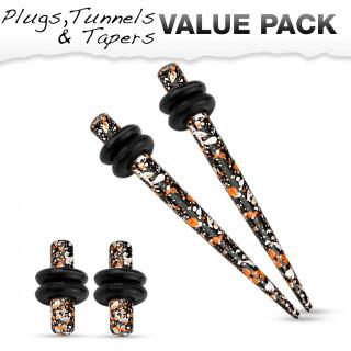 Lot de 4 écarteurs en acier tacheté orange, blanc et noir (2 plugs+2 tapers)