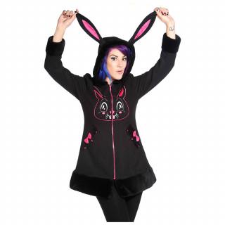Manteau femme noir à capuche lapin - Banned