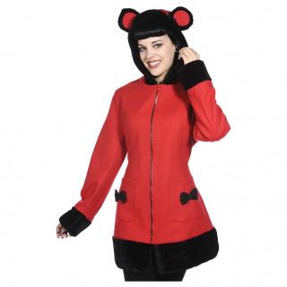 Manteau femme rouge à oreilles de panda - Banned