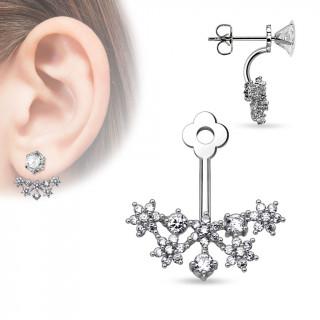 Ornement pour clou d'oreille à fleurs de strass