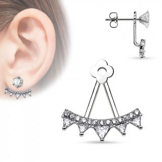Ornement pour clou d'oreille style balançoire de strass