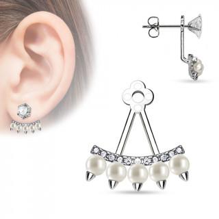 Ornement pour clou d'oreille style éventail à perles et strass