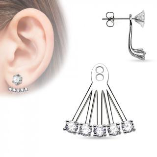 Ornement pour clou d'oreille style éventail à pierres rondes