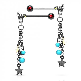 Paire de piercings téton à chat noir, perles et étoiles