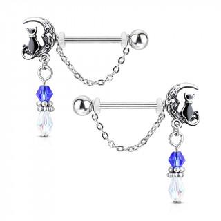 Paire de piercings téton à chat sur la lune et pendentif