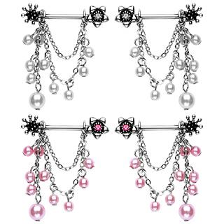 Paire de piercings téton fleurs