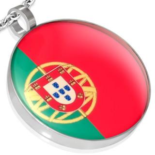 Pendentif acier rond drapeau Portugal