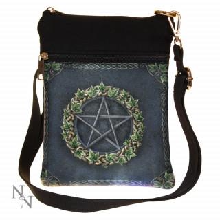 Petite sacoche bandoulière noire avec pentagramme à couronne de vigne