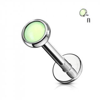 Piercing à disque serti epoxy - Vert (lèvre, cartilage)
