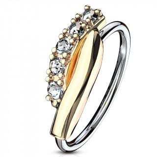 Piercing anneau à barre twistée dorée sertie (narine, cartilage)