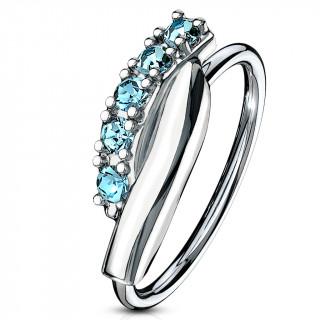 Piercing anneau à barre twistée sertie (narine, cartilage) - Bleu aqua
