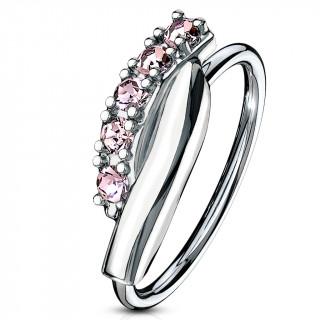 Piercing anneau à barre twistée sertie (narine, cartilage) - Rose