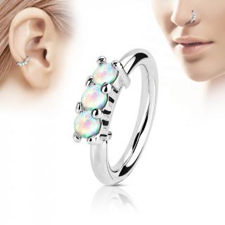Piercing anneau acier avec trois opales