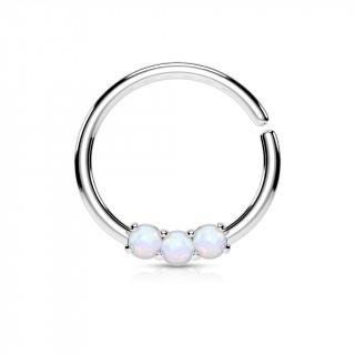 Piercing anneau acier serti de 3 opales claires