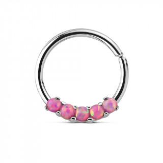 Piercing anneau acier serti de 5 opales roses
