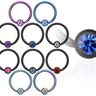Piercing anneau CBR anodisé titanium serti