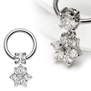 Piercing anneau captif avec pendentif fleur