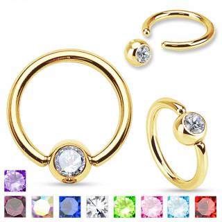 Piercing anneau captif plaqué or serti