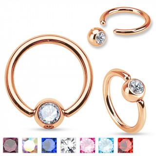 Piercing anneau CBR en acier cuivré avec gemme