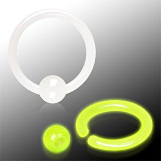 Piercing anneau CBR phosphorescent en acrylique